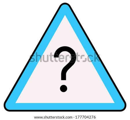 Rounded triangle shape hazard warning sign with question mark symbol. Vector illustration - stock vector