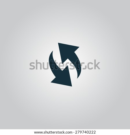 Rounded two arrows. Flat web icon or sign isolated on grey background. Collection modern trend concept design style vector illustration symbol - stock vector