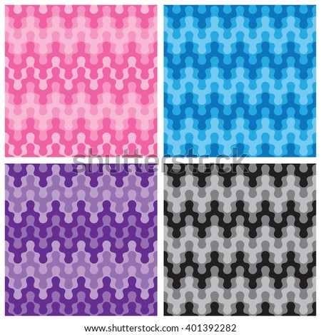 Rounded zigzag patterns in monochromatic shades of pink, blue, purple and black. - stock vector