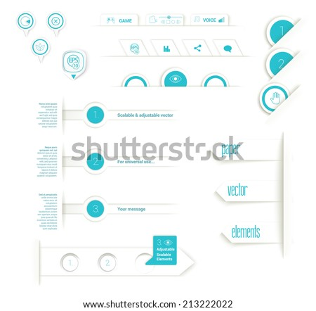 Rounds and origami vector elements responsive flat design for web site building - stock vector