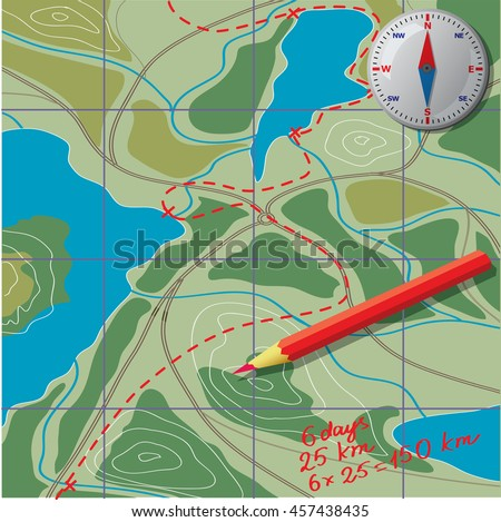 Route Development We Draw On Map Stock Vector Shutterstock - Route map and distance calculator