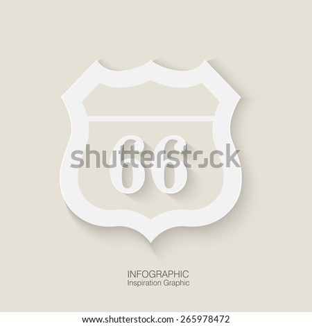 route 66  icon on white background Route 66 sign set / origami / vintage label / tag - stock vector