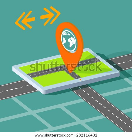 Route map on the tablet. City navigation app. Vector Image Stock. - stock vector