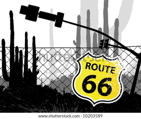 Route 66 Shield shaped Sign - stock vector
