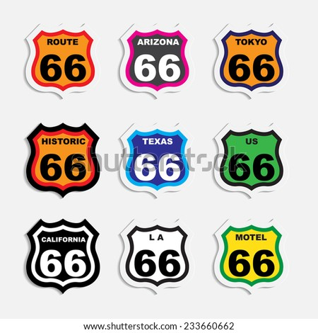 Route 66 sign / route 66 sign set / origami / vintage label / tag  - stock vector
