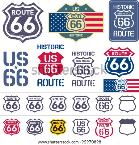 Route 66 sign set - stock vector