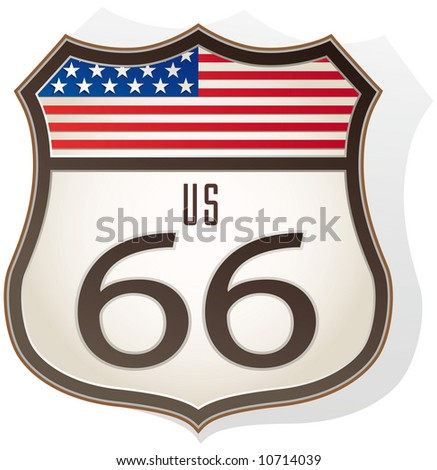 Route 66 sign with us flag - stock vector