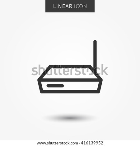 Router icon vector illustration. Isolated connection device symbol. Wireless modem line concept. Web hub graphic design. Wifi router outline symbol for app. Router switch pictogram on grey background. - stock vector