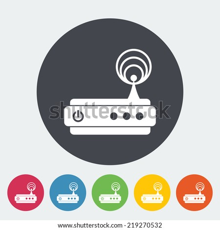 Router. Single flat icon on the circle. Vector illustration. - stock vector