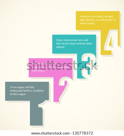 row of arrows showing up and right with place for your text. Cool for illustrating step by step development conception. EPS10 vector. - stock vector
