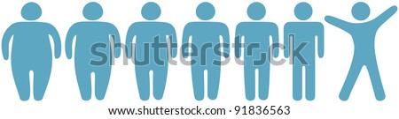 Row of before and after fat to fitness weight loss symbol people - stock vector