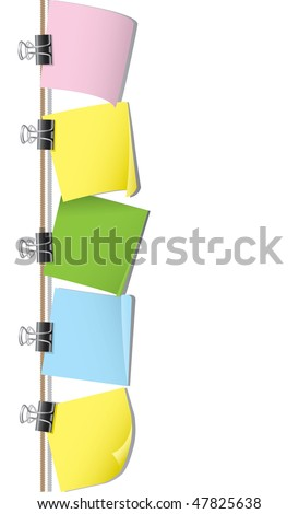 Row of blank note paper - stock vector