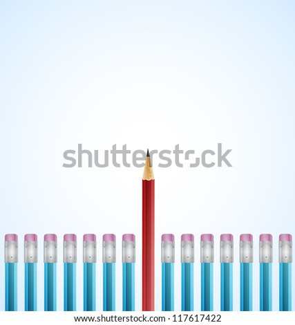 Row of Blue Pencils With One Selected Red on White Background - stock vector