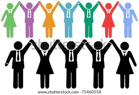 Row of business people symbols holding hands raise arms to celebrate - stock vector