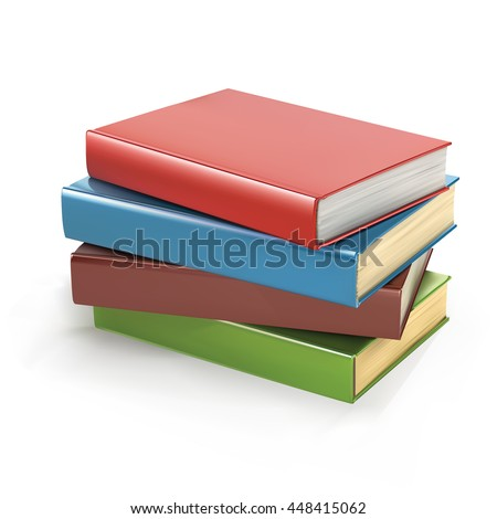 Row of colorful books, vector illustration - stock vector