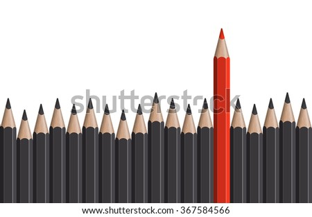 row of gray pencils with one colored red symbolizing the special one - stock vector