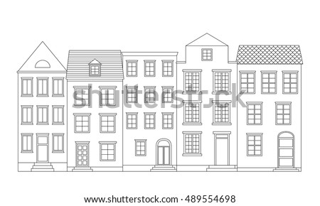 row of houses illustration. row of houses vector illustration