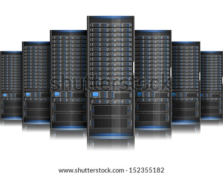 Row of network servers. - stock vector