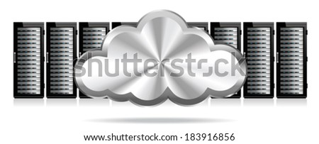 Row of Network Servers with Cloud - Information technology conceptual image - stock vector