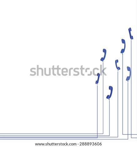 Row of old handsets on white background - stock vector