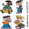 Rowdy Boys. A set of four cartoon boys with mischief on their minds. Layered vector file. - stock vector