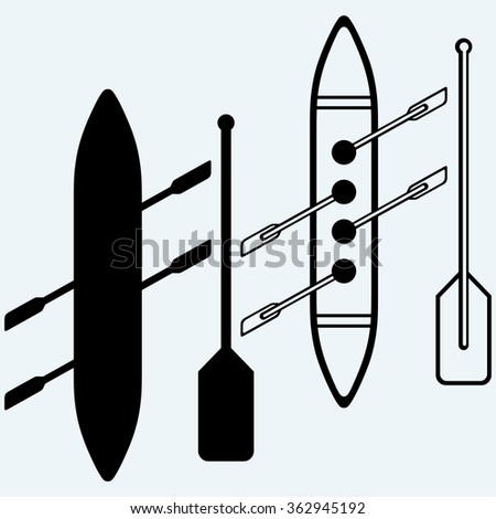 Rowers, boat sports Isolated on blue background. Vector silhouettes - stock vector