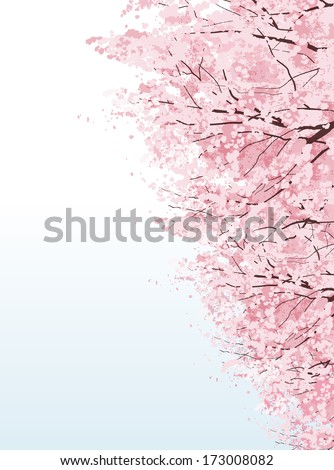Rows of cherry blossom trees.File contains Clipping mask, Gradients. - stock vector