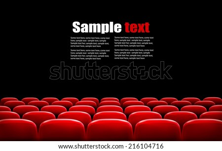 Rows of red cinema or theater seats in front of black screen with sample text space. Vector. - stock vector