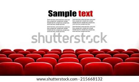Rows of red cinema or theater seats in front of white blank screen with sample text space. Vector. - stock vector