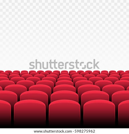 rows of red cinema or theater seats on transparent background vector of movie theater - Movie Theater Chairs