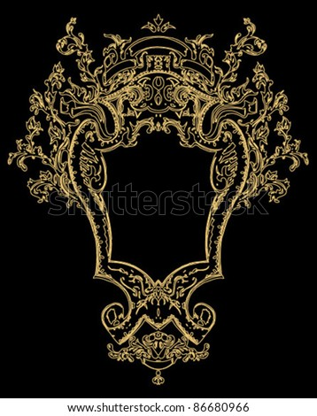 royal antique frame hand drawn rough edges - stock vector