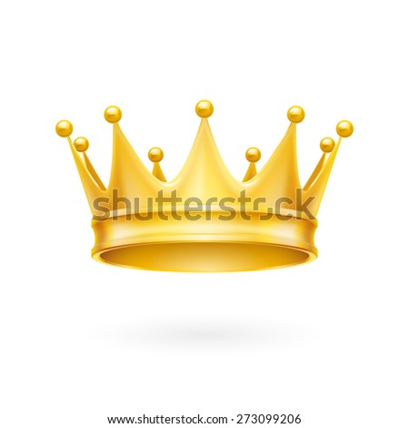 Royal attribute golden crown isolated on a white background - stock vector