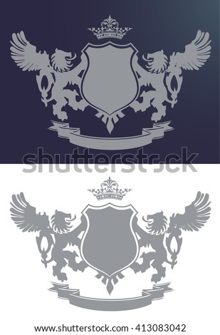 Royal crest with two lions and wings, crown and badge, illustration isolated on white and blue - stock vector
