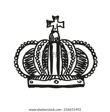 Royal Crown Doodle Hand Sketch style which is an emblem for royals, government and symbol of other meanings like immortality. Editable Vector Illustration. - stock vector