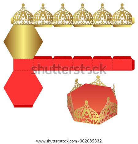 Royal Crown Shaped box, Handmade Craft, Shiny Packet design, Award present bag, Gold DIY die-stamping Luxury container, folding, ready Success Glory Wealth Themed Silhouette,  Designer supply - stock vector