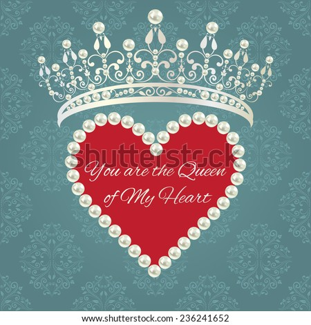 Royal design template. Elements are layered separately in vector. Easy editable. Love valentine card. Damask pattern in grey blue color with tiara, heart of pearls with red background and text.  - stock vector