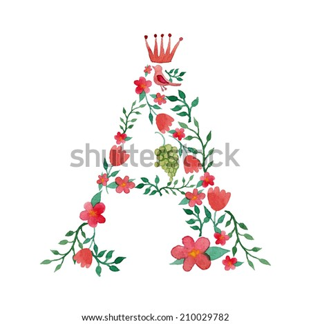 Royal floral monogram A painted with watercolor - stock vector