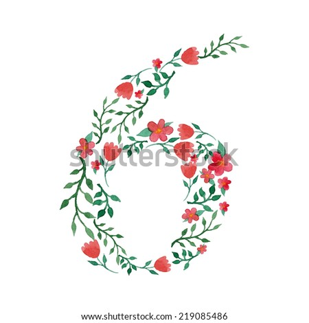 Royal floral number 6 hand drawn with watercolor - stock vector