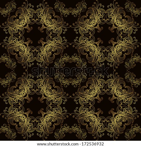 Royal floral pattern seamless black and gold - stock vector