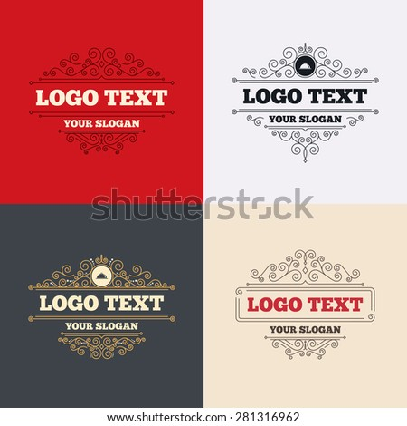 Royal flourishes calligraphic. Food platter serving sign icon. Table setting in restaurant symbol. Luxury ornament lines. Vector - stock vector