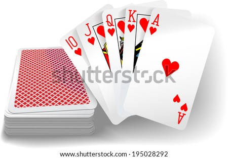 Royal flush hearts five card poker hand playing cards deck - stock vector