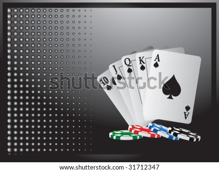 royal flush playing card on black halftone horizontal banner
