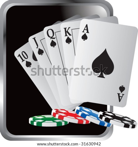 royal flush playing cards and poker chips silver frame - stock vector