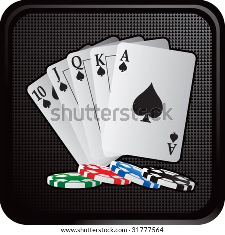 royal flush playing cards on web button