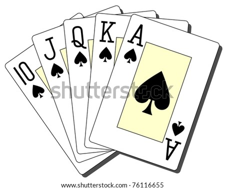 royal flush spades - stock vector