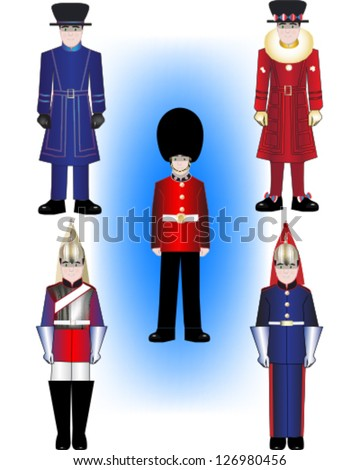 Royal Guard vector illustrations - Beefeater in both everyday uniform and Tudor state dress, a Grenadier Guard and The Blues and Royals of the Household Division - stock vector