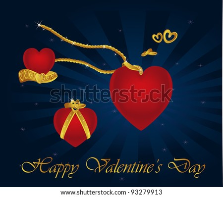royal hearts and jewel collection - stock vector