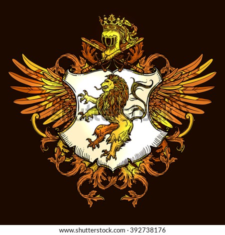 Royal heraldic emblem with wings shield crown and lion golden on black icon poster print vector illustration  - stock vector