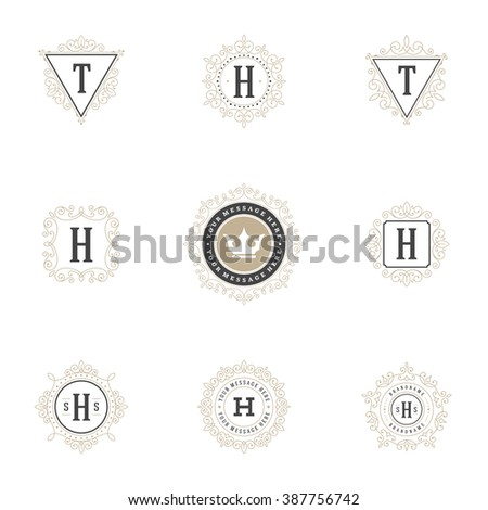 Royal Logos Design Templates Set. Flourish Calligraphic Elegant Ornament Lines. Luxury Labels, Crest Sign, Frames Decorations, Vintage Feminine Style. - stock vector