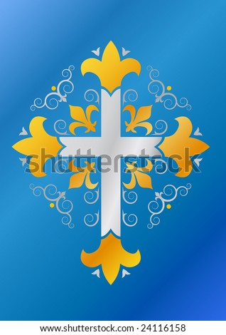 Royal musketeer cross (machine embroidery design) - stock vector